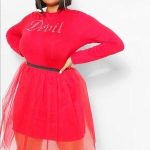 Boohoo Plus Red Tulle Mini Skirt